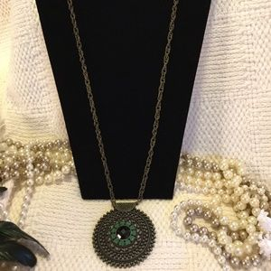 Jewelry - Boho Gypsy Bronze Green Heart Stone Necklace